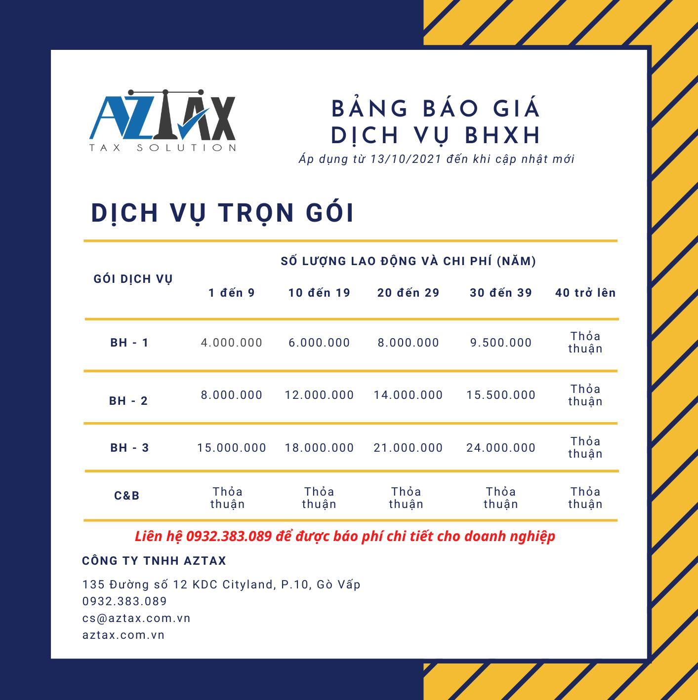 Bảng báo giá dịch vụ BHXH trọn gói