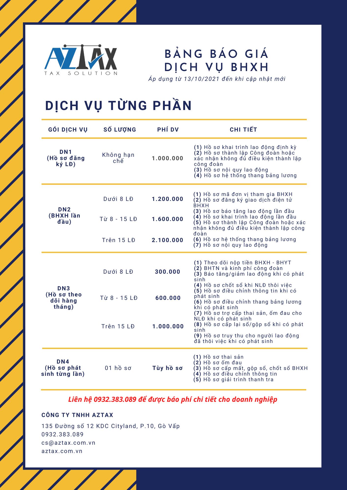 Bảng báo giá dịch vụ BHXH từng phần
