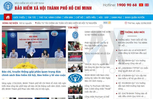 Giao diện trang chủ Bảo hiểm xã hội TPHCM