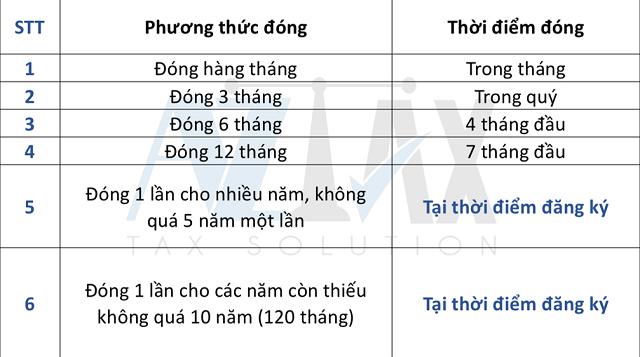Bảng liệt kê các phương thức và thời điểm đóng BHXH tự nguyện.