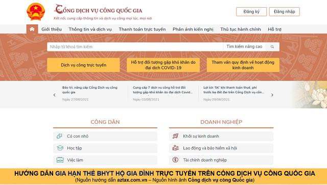 Hướng dẫn gia hạn BHYT online - Bước 1