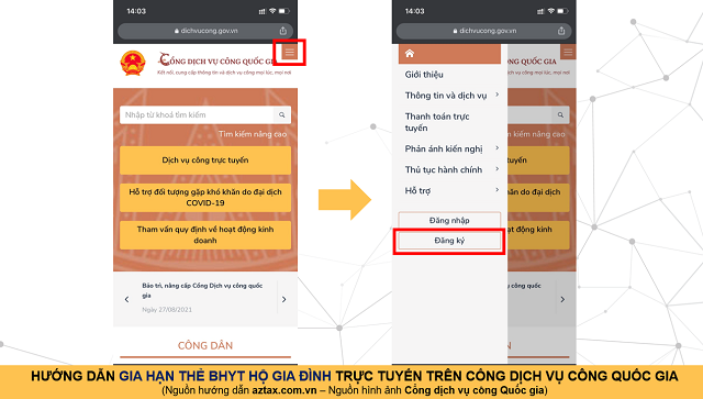 Hướng dẫn gia hạn BHYT online - Bước 2 - Áp dụng cho điện thoại