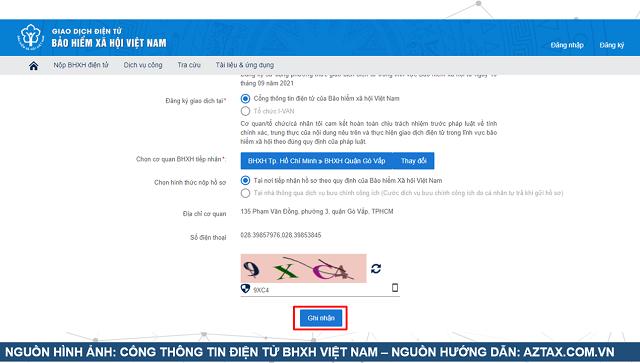 Hướng dẫn đăng ký tài khoản dịch vụ công BHXH - Bước 6