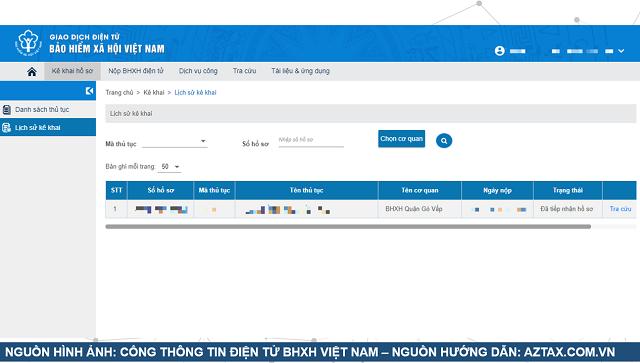 Làm hồ sơ BHXH 1 lần trực tuyến - Bước 10.1