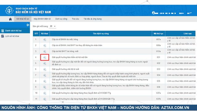Làm hồ sơ BHXH 1 lần trực tuyến - Bước 5.1