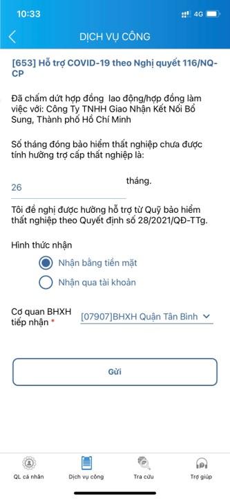 Bước 5: Điền thông tin nhận bằng tiền mặt