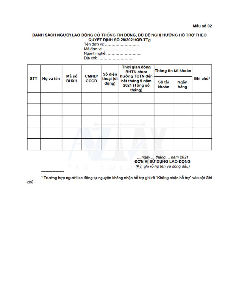 Mẫu số 02 ban hành kèm theo Quyết định 28/2021/QĐ-TTg