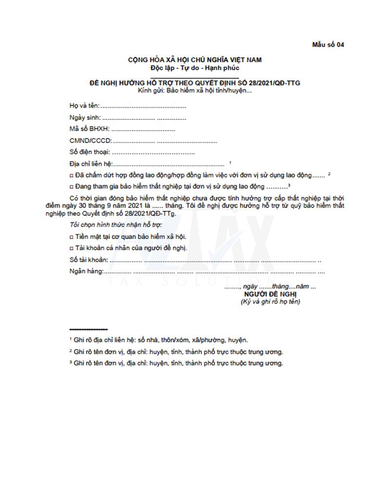 Mẫu số 04 ban hành kèm theo Quyết định 28/2021/QĐ-TTg